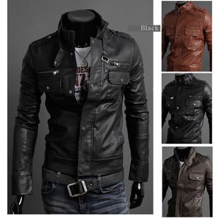 เสื้อผ้าผู้ชาย เสื้อผ้าแฟชั่น เสื้อแจ็คเก็ตหนัง เท่ๆ มี สีดำ สีชา สีกาแฟเข้ม มีั ไซร์ M L XL XXL