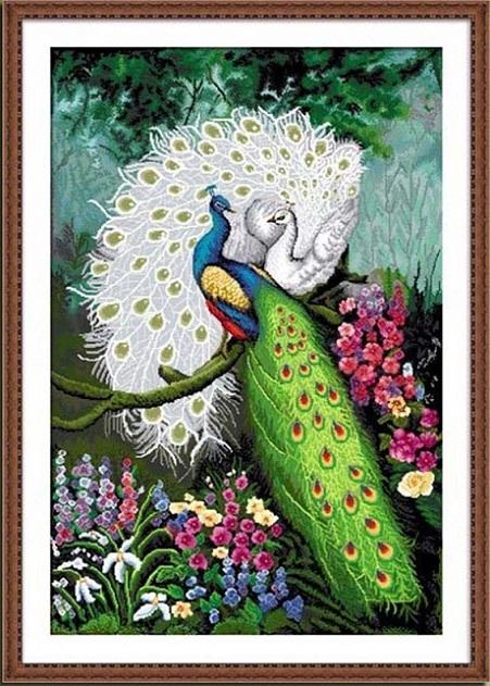 นกยูงคู่ 2 สี (พิมพ์ลาย)