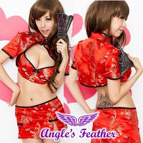 ชุดสาวจีน สุดเซ็กซี่ กระโปรงสั้น  สีแดง