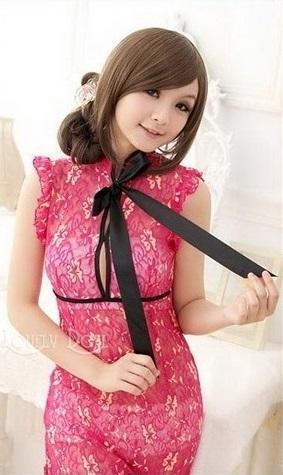 ชุดกี่เพ้า ซีทรูยาว สีชมพู