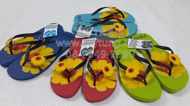 รองเท้าแตะฟองน้ำหูหนีบสกรีนดอกไม้  ขายส่ง