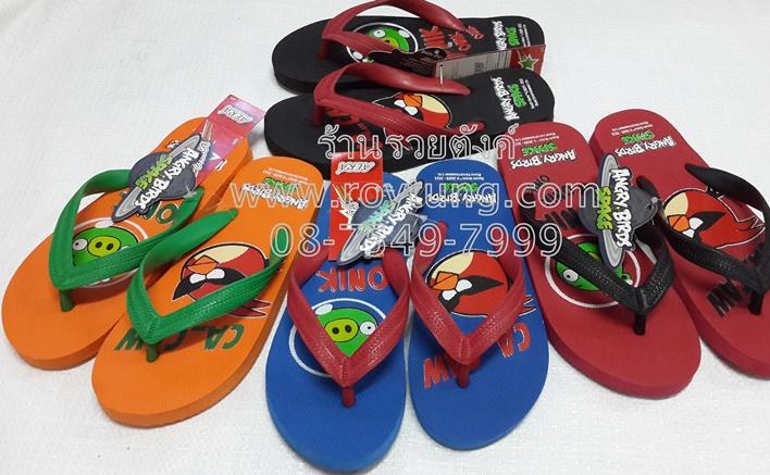 รองเท้าแตะฟองน้ำหูหนีบ ลายการ์ตูนลิขสิทธิ์ แองกี้เบิร์ด Angry Birds  ขายส่ง
