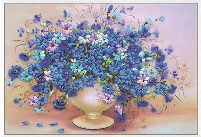Blue flower vase (พิมพ์ลาย)