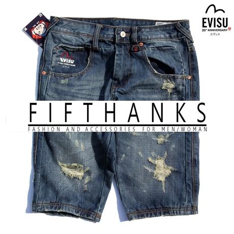 JEANS EVISU กางเกงยีนส์ขาสั้น แฟชั่นกางเกงยีนส์ผู้ชาย