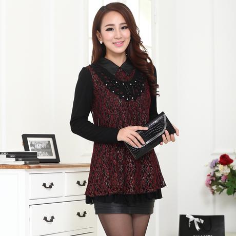 XL สีแดง พร้อมส่ง เสื้อผ้า คนอ้วน  แฟชั่นไซส์ใหญ่ นำเข้า 100% ไซส์ใหญ่ ราคาถูก สไตล์เกาหลี