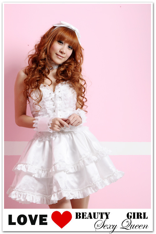 ชุด lolita เดรสออกงาน สีขาว