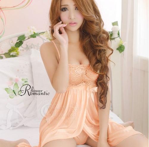 ชุดนอนเซ็กซี่ สีส้มอ่อน Shiny Blossom