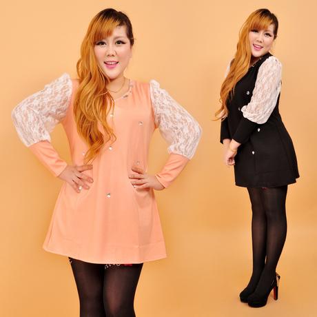 XXXXL สีส้ม พร้อมส่ง เสื้อผ้า คนอ้วน  แฟชั่นไซส์ใหญ่ นำเข้า 100% ไซส์ใหญ่ ราคาถูก สไตล์เกาหลี