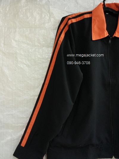 ขายส่ง เสื้อแจ็คเก็ตปกสีส้ม แถบคู่ ผ้าไมโคร+ปัก 093-632-6441 รับปักแจ็คเก็ต Jacket