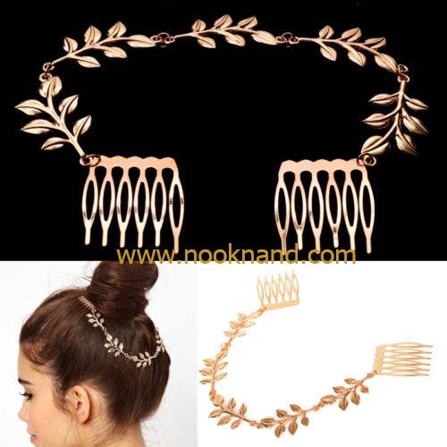 หวีปิ่นประดับแต่งผมสไตล์สาวกรีก หวาน ซึ้่งโรมแมนติก Womens Stylish Elegant Gold Leaves Chain Hair Comb Cuff Head Band Headwear Gift