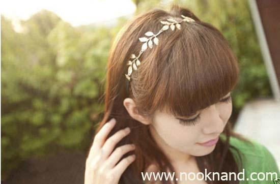 Athena headband ที่คาดผมยางยืดรูปใบไม้สีทองสวยใสสไตล์สาวกรีก