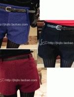 กางเกงแฟชั่น ผ้าสำลี ขาสั้น มีสีแดง น้ำเงิน ดำ แถมเข็มขัด