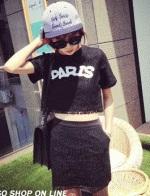 ชุด 2 ชิ้นผ้าลูกไม้ เสื้อ PARIS + กระโปรง ,มีสีดำและสีขาว
