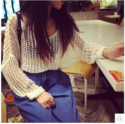 T-SHIRT/BLOUSES  เสื้อแขนยาวแฟชั่น เสื้อผ้าสำหรับผู้หญิงแนววินเทจ knit pullover blouse shirt  korean  fashion