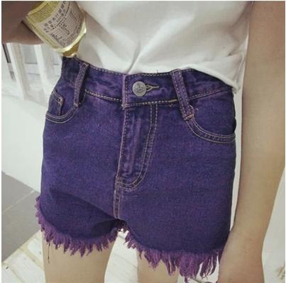 TROUSERS /SHORT  JEANS  กางเกงยีนส์ขาสั้นสำหรับผู้หญิงแฟชั่น Purple  jeans  vintage  style  fashion