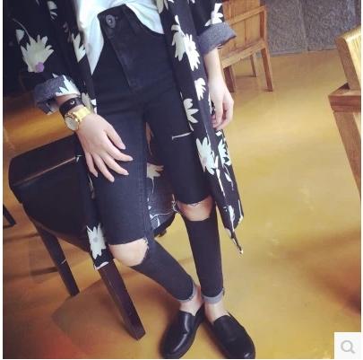 JEANS  กางเกงยีนส์เอวสูง แฟชั่นสำหรับผู้หญิง Harajuku  Japanese  and  korean  High waist jeans female fashion