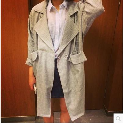 LONG  SUIT  JACKETS เสื้อคลุมตัวยาว  แฟชั่นเสื้อผ้าสำหรับผู้หญิงแนววินเทจ plaid long  suit jacket Korean version
