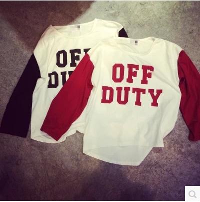 T-SHIRT  OFF  DUTY  เสื้อยืดแขนยาวแฟชั่น เสื้อตัวนอกแฟชั่นสำหรับผู้หญิงแฟชั่นเกาหลี Harajuku  t-shirt