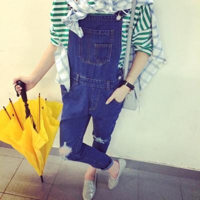 JEANS  ชุดเอี๊ยมยีนส์สกินนี่แฟชั่น สำหรับผู้หญิงลุคเซอร์ๆ Romper  jeans  korean  fashion