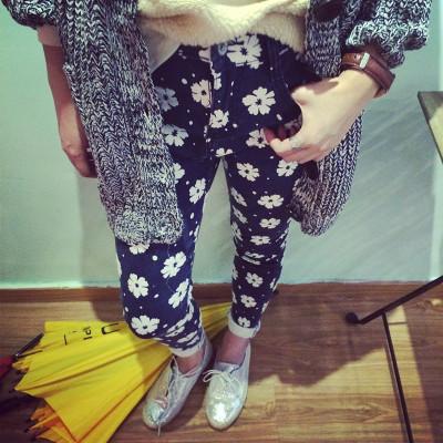 PANTS กางเกงขายาวแฟชั่น ทรงสกินนี่แฟชั่น พิมพ์ลาย  flower  print   women's  casual  trousers
