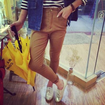 PANTS กางเกงขายาวแฟชั่น ทรงสกินนี่แนววินเทจแฟชั่น women's  casual  trousers