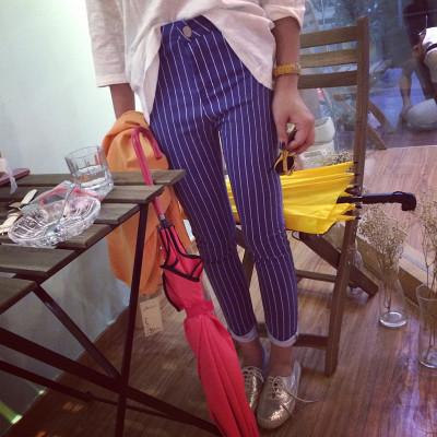 PANTS กางเกงขายาวแฟชั่น ทรงสกินนี่แนววินเทจแฟชั่น Stripe  women's  casual  trousers