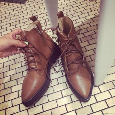 SHOES  รองเท้าคัทชูแฟชั่น รองเท้าหนังแฟชั่นสำหรับผู้หญิงแนววินเทจ leather  PU  shoes  fashion