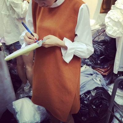 DRESS ชุดเดรสแฟชั่น เสื้อผ้าสำหรับผู้หญิงแนววินเทจ  mixed  colors  dress  shirt  collar  fashion  vintage  style