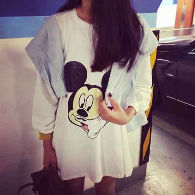 DRESS  MICKEY  CARTOON  ชุดเดรสแขนยาวแฟชั่น สำหรับผู้หญิงสไตล์ญี่ปุ่นเกาหลี casual/basic  one  piece  dress