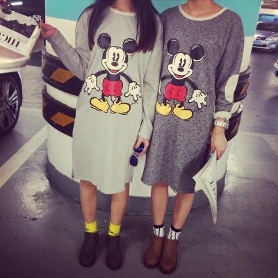 DRESS  MICKEY  CARTOON  ชุดเดรสแขนยาวตัวยาวแฟชั่น สำหรับผู้หญิงสไตล์ญี่ปุ่นเกาหลี casual/basic  long  dress