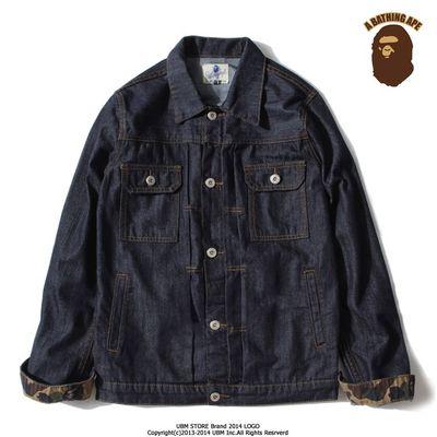 JACKET*S  JEAN*S   AAP*E  BAP*E  CAMO  เสื้อแจ็คเก็ตยีนส์แฟชั่น เสื้อผ้าผู้ชายแฟชั่น fashion blue minimalist denim jacket colors