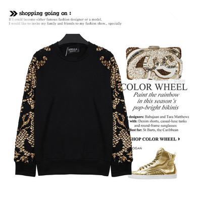 CREW NECK/SWEATSHIRT STELLA เสื้อสเวตเชิ้ตตัวสั้นผู้เหญิง สเวตเตอร์ผู้หญิง เสื้อแขนยาวแฟชั่น เสื้อผ้าแฟชั่นผู้หญิง แฟชั่นเกาหลี ญี่ปุ่น สไตล์อาราจูกุ สินค้าแบรนด์แท้จาก shop counter fashion women gold sequined long-sleeved T-shirt sleeve sweater