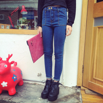 DENIM  JEANS  กางเกงยีนส์ขายาวแฟชั่น กางเกงทรงสนินนี่แฟชั่นผู้หญิง สำหรับผู้หญิงสไตล์ญี่ปุ่น เกาหลี