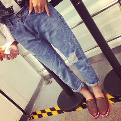 DENIM  JEANS  MM กางเกงยีนส์ขายาวแฟชั่น กางเกงเอวสูงทรงบอยแฟชั่นผู้หญิง สำหรับผู้หญิงสไตล์วินเทจ ญี่ปุ่น เกาหลี