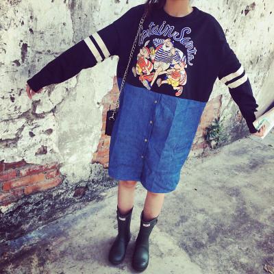 DRESS  ชุดเดรสแขนยาวแฟชั่น เดรสยีนส์แฟชั่น สำหรับผู้หญิงสไตล์ญี่ปุ่นเกาหลี ฮาราจูกุ วินเทจแฟชั่น