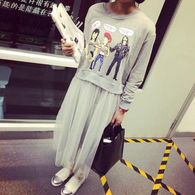 DRESS  ชุดเดรสแขนยาวแฟชั่น ชุดเสื้อแขนยาว+กระโปรงชีฟองแฟชั่น เดรสชีฟองแฟชั่น สำหรับผู้หญิงสไตล์ญี่ปุ่นเกาหลี ฮาราจูกุ วินเทจแฟชั่น