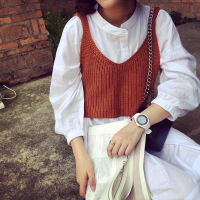 KNITWEAR  เสื้อกั๊กผู้หญิงแฟชั่น เสื้อถักตัวสั้น เสื้อไหมพรมผู้หญิงแฟชั่น เสื้อแขนยาวแฟชั่นสำหรับผู้หญิงวินเทจ แฟชั่นเกาหลี ญี่ปุ่น ฮาราจูกุแฟชั่น