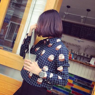 BLOUSE/SHIRT   เสื้อเชิ้ตผู้หญิงแฟชั่น เสื้อเชิ้ตตัวสั้นผู้หญิง ลายสก๊อต แนววินเทจ เสื้อแขนยาวผู้หญิงแฟชั่น เสื้อตัวสั้นแฟชั่นสไตล์เกาหลี ญี่ปุ่น ฮาราจูกุ