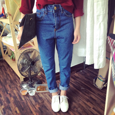 DENIM  JEANS  กางเกงยีนส์ขายาวแฟชั่น กางเกงยีนส์ผู้หญิงเอวสูงแนววินเทจ สำหรับผู้หญิงสไตล์ญี่ปุ่น เกาหลี อาราจูกุแฟชั่น