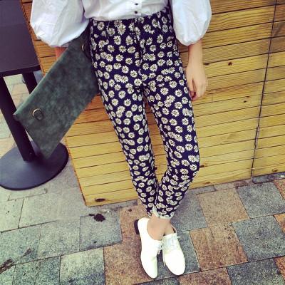PANTS FLOWER  PRINT  กางเกงขายาวแฟชั่น ทรงสกินนี่แนววินเทจแฟชั่น กางเกงทรงลำลองผู้หญิง แนววินเทจ แฟชั่น เกาหลี ญี่ปุ่น แฟชั่น