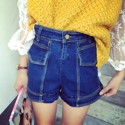 SHORT  DENIM  JEANS  กางเกงยีนส์ขาสั้นแฟชั่น เสื้อผ้าแฟชั่นผู้หญิง แนววินเทจ สำหรับผู้หญิงสไตล์ญี่ปุ่น เกาหลี