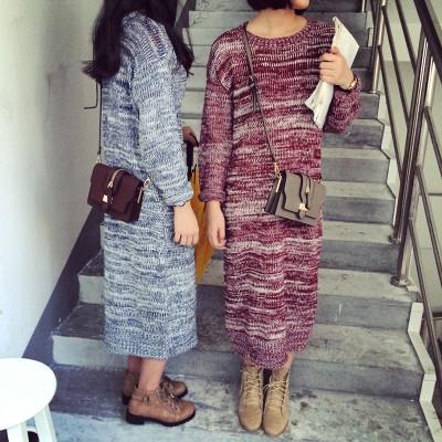 DRESS ชุดเดรส ทรงA แฟชั่น เดรสไหมพรมตัวยาว ชุดเดรสแนววินเทจแฟชั่น สำหรับผู้หญิงสไตล์ญี่ปุ่นเกาหลี ฮาราจูกุ เสื้อผ้าวินเทจแฟชั่น
