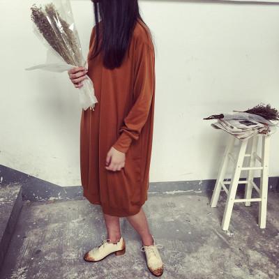 DRESS  ชุดเดรสแฟชั่น ชุดวันพีชทรงหลวม ตัวยาวแขนยาว ชุดเดรสแนววินเทจแฟชั่น สำหรับผู้หญิงสไตล์ญี่ปุ่นเกาหลี ฮาราจูกุ เสื้อผ้าวินเทจแฟชั่น