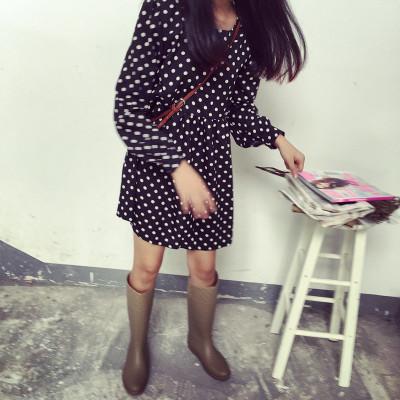 DRESS  DOTS  PRINT ชุดเดรสแฟชั่น ชุดวันพีชจั๊มเอว เดรสแขนยาว ชุดเดรสแนววินเทจแฟชั่น สำหรับผู้หญิงสไตล์ญี่ปุ่นเกาหลี ฮาราจูกุ เสื้อผ้าวินเทจแฟชั่น