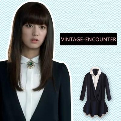 DRESS  AND  SHIRT  ชุดเดรส + เชิ้ตผู้หญิงแฟชั่น เสื้อแขนยาวผู้หญิง เสื้อผ้าแฟชั่นผู้หญิง แฟชั่นแนววินเทจ สินค้าแบรนด์แท้จาก shop counter แฟชั่น Park Shin Hye  , Kim Ji Won ซีรี่ย์เกาหลี The Heirs