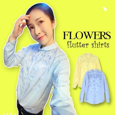 BLOUSES/TSHIRT FLOWERS  FLUTTER  เสื้อเชิ้ตผู้หญิงแฟชั่น เสื้อแขนยาวผู้หญิง เสื้อผ้าแฟชั่นผู้หญิง แฟชั่นแนววินเทจ สินค้าแบรนด์แท้จาก shop counter แฟชั่น Jeon Ji Hyun ,  You Who Came From the Stars