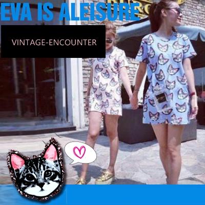 DRESS  EVA  IS  ALEISURE  CATS  PRINT  FASHION ชุดเดรสผู้หญิง ชุดเดรสทรง A  ชุดเดรสวันพีชสูท ชุดเดรสออกงานแฟชั่น แนวluxurious แฟชั่นแนววินเทจ สินค้าแบรนด์แท้จาก shop counter แฟชั่น Jeon Ji Hyun  ซีรี่ย์เกาหลี You Who Came From the Stars
