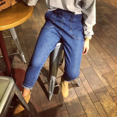 กางเกงยีนส์ขายาวเอวสูงแฟชั่น กางเกงยีนส์เกาหลี ญี่ปุ่นแฟชั่น กางเกงยีนส์เอวยางยืดแฟชั่นผู้หญิง