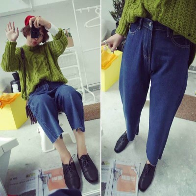 DENIM  JEANS  กางเกงยีนส์ขายาวเอวสูงแฟชั่น กางเกงยีนส์เกาหลี ญี่ปุ่นแฟชั่น รุ่นคลาสสิก ทรงหลวม กางเกงยีนส์ขากระบอกแฟชั่นผู้หญิง