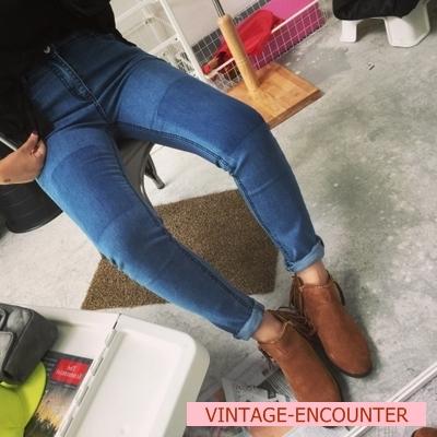 DENIM  JEANS  กางเกงยีนส์ขายาวเอวสูงแฟชั่น กางเกงยีนส์เกาหลี ญี่ปุ่นแฟชั่น รุ่นคลาสสิก ทรงสกินนี่ กางเกงยีนส์ขากระบอกแฟชั่นผู้หญิง